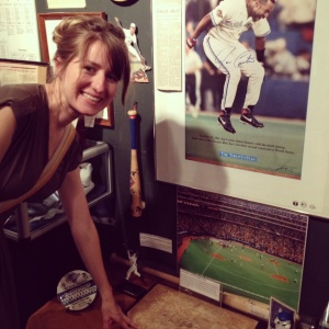 My Wife Marta with the home plate Joe Carter crossed following his 1993 World Series winning walk-off home run.