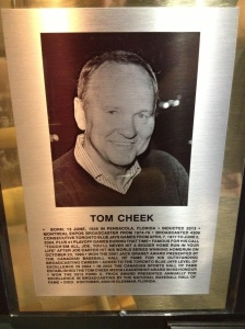 Tom Cheek Induction Ceremony Plaque