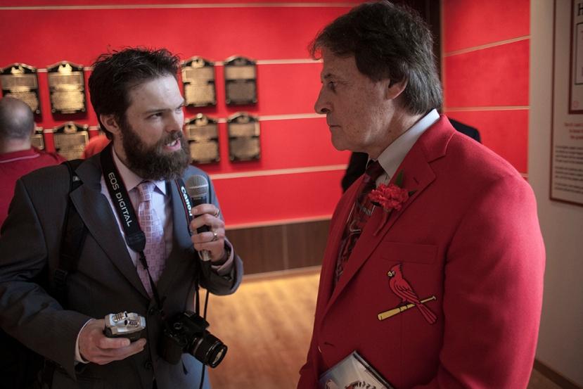 Interviewing 2014 HOF Inductee Tony La Russa. Pic via Robert Rohe, rrohe.com