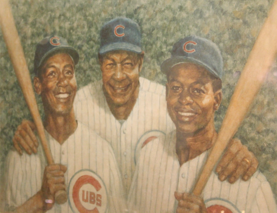 Buck O'Neil with his young stars, Ernie Banks (left) & Lou Brock (right)