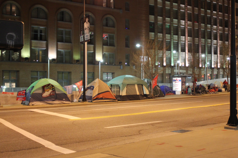 Cards fans camp out in hopes of getting home opener tickets.