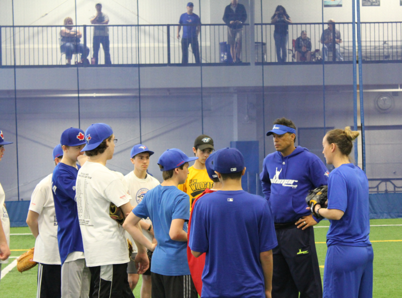 Robbie Alomar works on fielding drills